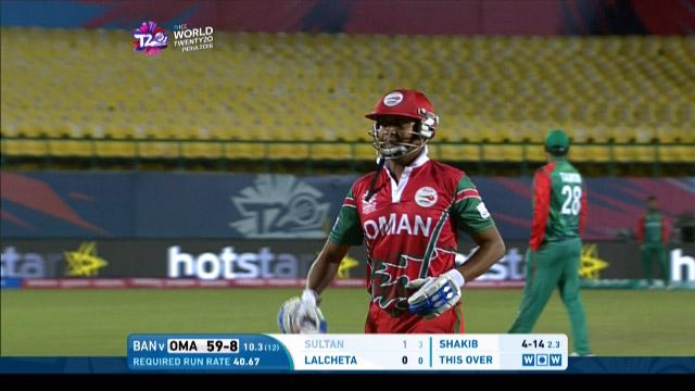 Oman wicket Losses v Bangladesh Video ICC WT20 2016