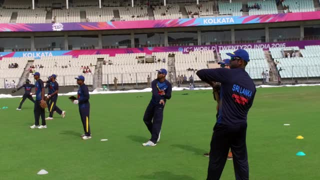 Sri Lanka's players have a net session