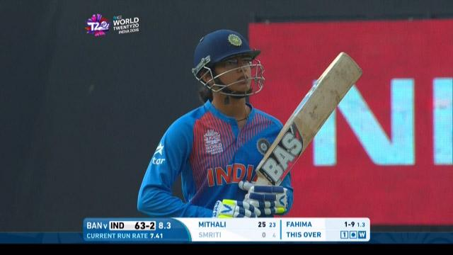 Smriti Mandhana Wicket Fall IND V BAN Video ICC Womens WT20 2016
