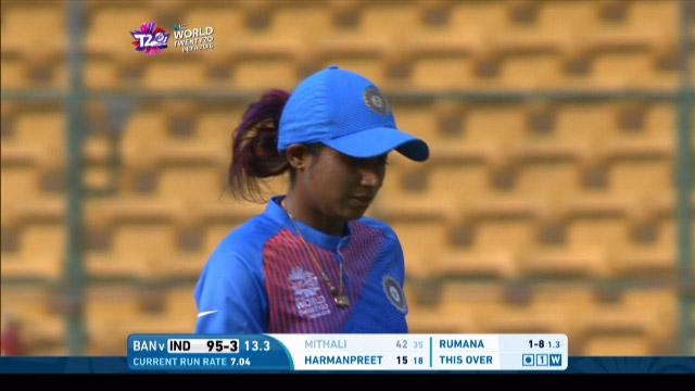 Mithali Raj Wicket Fall IND V BAN Video ICC Womens WT20 2016