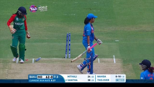 India wicket Losses v Bangladesh Video ICC Womens WT20 2016