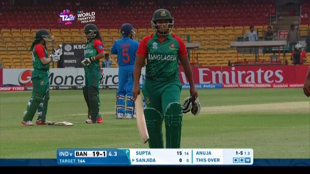 Ayasha Rahman Wicket Fall IND V BAN Video ICC Womens WT20 2016