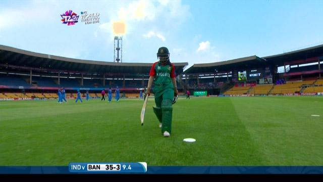 Sharmin Akhter Wicket Fall IND V BAN Video ICC Womens WT20 2016