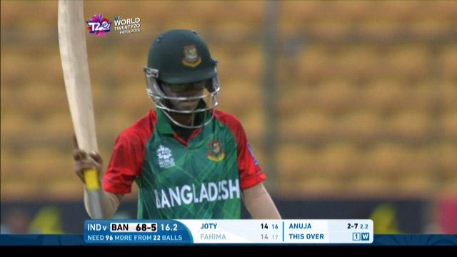 Fahima Khatun Wicket Fall IND V BAN Video ICC Womens WT20 2016