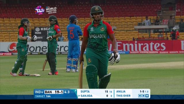 Bangladesh wicket Losses v India Video ICC Womens WT20 2016