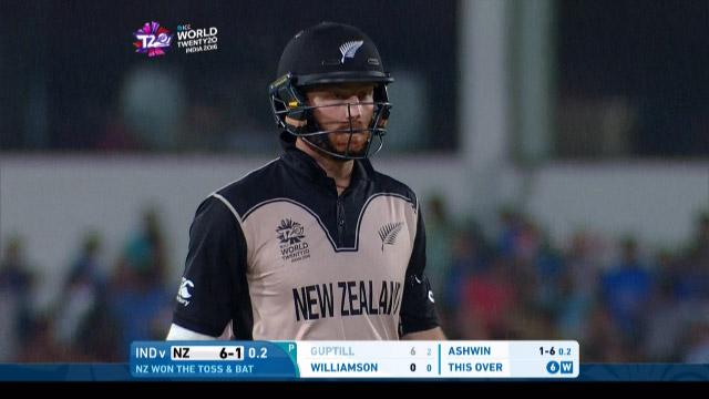 Martin Guptill Wicket Fall NZ V IND Video ICC WT20 2016