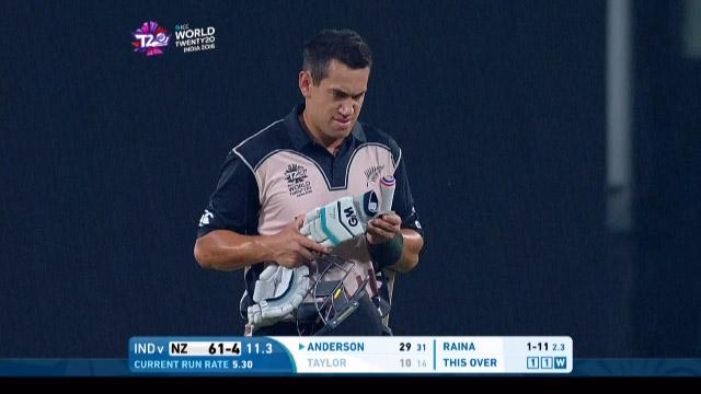 Ross Taylor Wicket Fall NZ V IND Video ICC WT20 2016