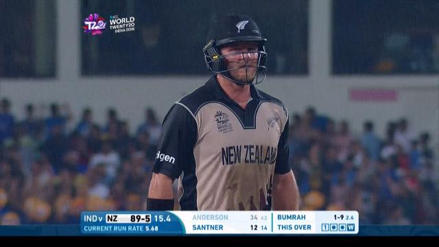 Corey Anderson Wicket Fall NZ V IND Video ICC WT20 2016