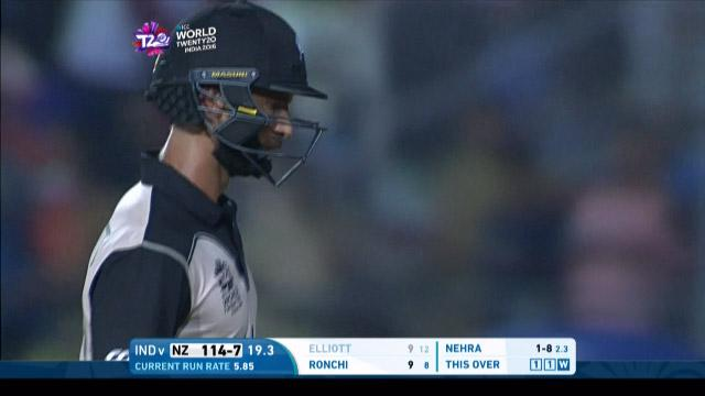 Grant Elliott Wicket Fall NZ V IND Video ICC WT20 2016
