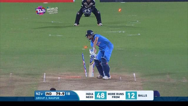 India wicket Losses v New Zealand Video ICC WT20 2016