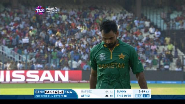 Mohammad Hafeez Wicket Fall PAK V BAN Video ICC WT20 2016