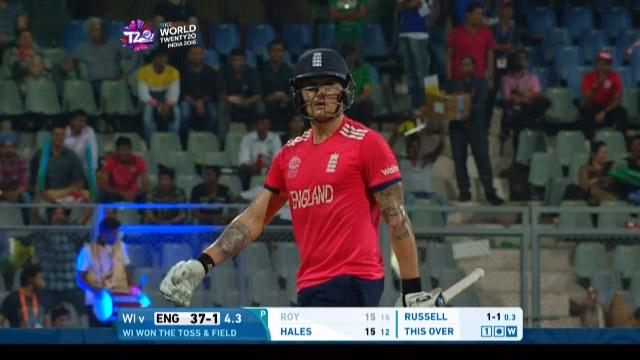 Jason Roy Wicket Fall WI V ENG Video ICC WT20 2016
