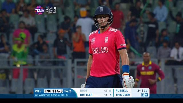 Joe Root Wicket Fall WI V ENG Video ICC WT20 2016