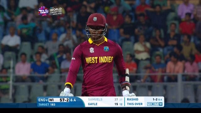 Marlon Samuels Wicket Fall WI V ENG Video ICC WT20 2016