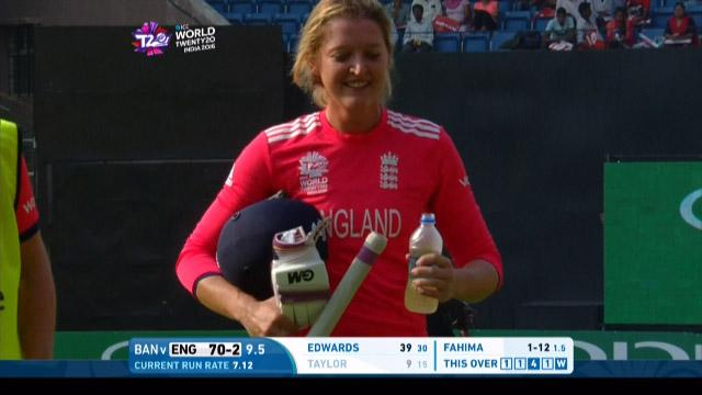 Sarah Taylor Wicket Fall ENG V BAN Video ICC Womens WT20 2016