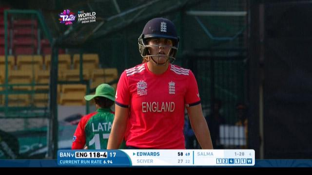 Natalie Sciver Wicket Fall ENG V BAN Video ICC Womens WT20 2016