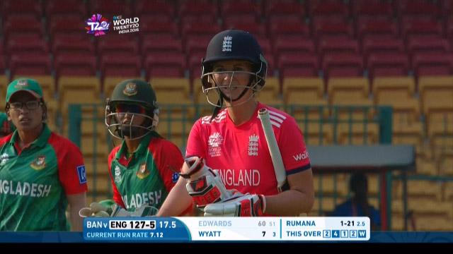 Charlotte Edwards Wicket Fall ENG V BAN Video ICC Womens WT20 2016