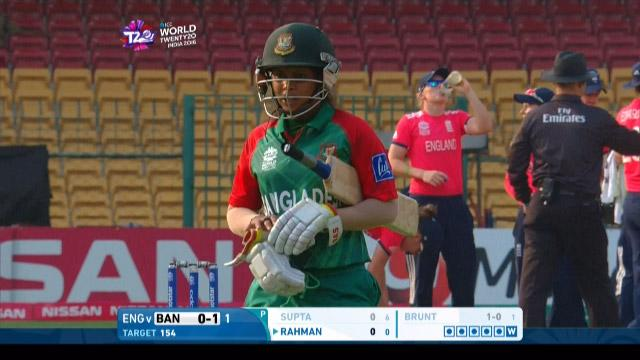 Sharmin Akhter Wicket Fall ENG V BAN Video ICC Womens WT20 2016