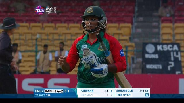 Ayasha Rahman Wicket Fall ENG V BAN Video ICC Womens WT20 2016