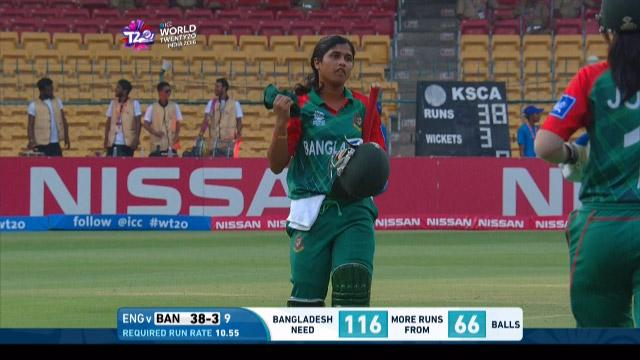 Fargana Hoque Wicket Fall ENG V BAN Video ICC Womens WT20 2016