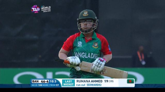 Rumana Ahmed Wicket Fall ENG V BAN Video ICC Womens WT20 2016