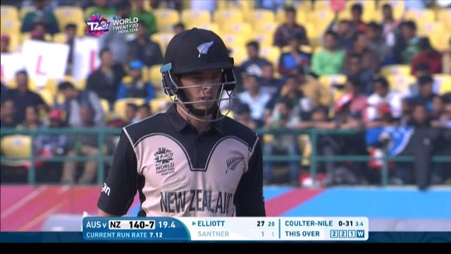 Mitchell Santner Wicket Fall NZ V AUS Video ICC WT20 2016
