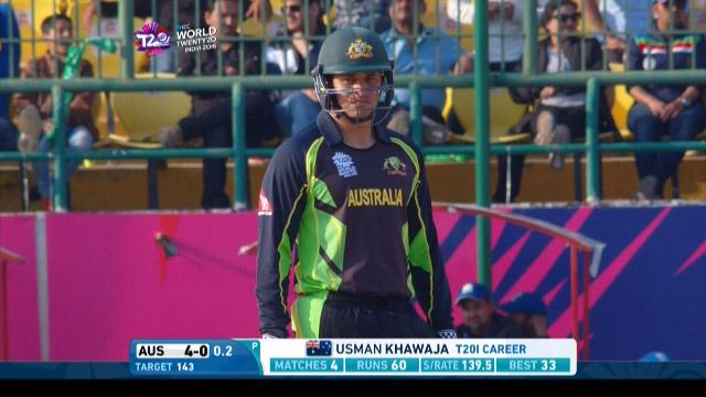 Usman Khawaja Innings for Australia V New Zealand Video ICC WT20 2016