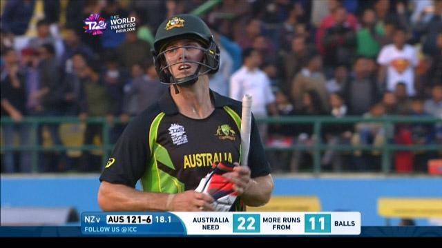 Mitchell Marsh Wicket Fall AUS V Nz Video ICC WT20 2016