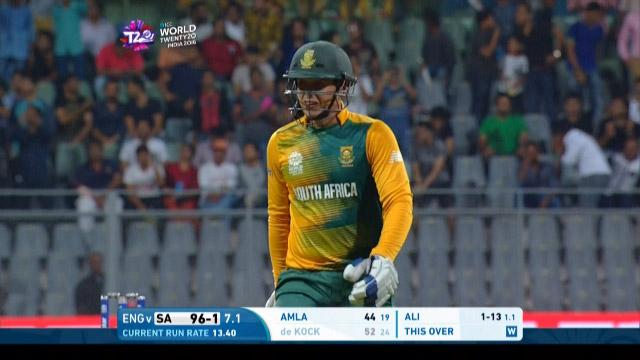 Quinton de Kock Wicket Fall SA V ENG Video ICC WT20 2016
