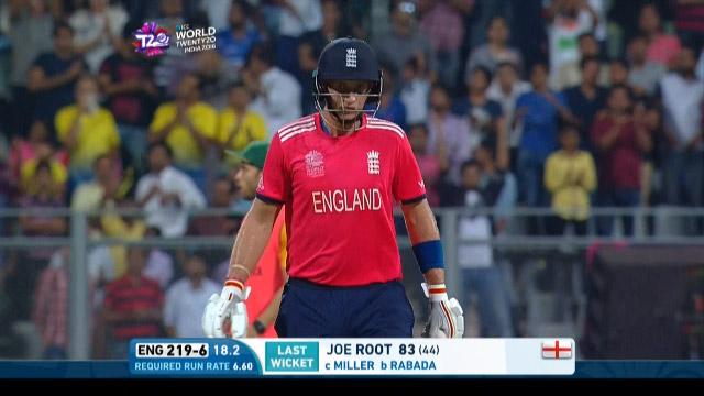 Joe Root Wicket Fall ENG V SA Video ICC WT20 2016
