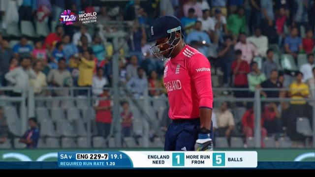 Chris Jordan Wicket Fall ENG V SA Video ICC WT20 2016