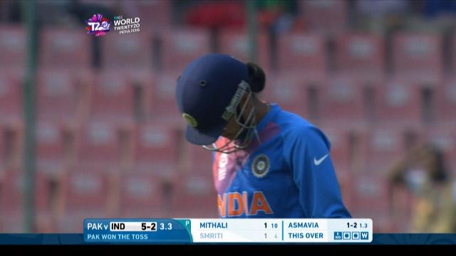 Smriti Mandhana Wicket Fall IND V PAK Video ICC Womens WT20 2016