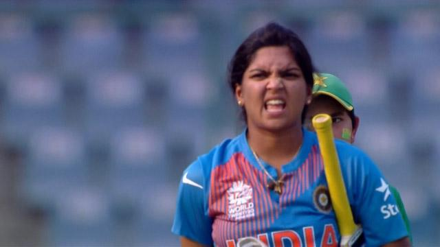 Veda Krishnamurthy Wicket Fall IND V PAK Video ICC Womens WT20 2016