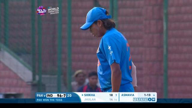 Jhulan Goswami Wicket Fall IND V PAK Video ICC Womens WT20 2016