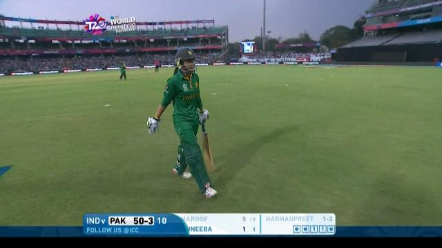 Bismah Maroof Wicket Fall IND V PAK Video ICC Womens WT20 2016