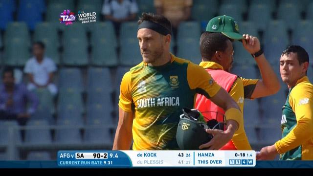 Faf du Plessis Wicket Fall SA V AFG Video ICC WT20 2016