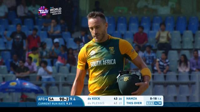 South Africa wicket Losses v Afghanistan Video ICC WT20 2016