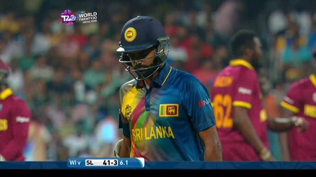 Lahiru Thirimanne Wicket Fall SL V WI Video ICC WT20 2016