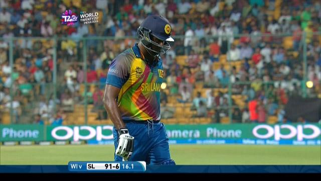 Angelo Mathews Wicket Fall SL V WI Video ICC WT20 2016
