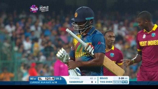 Thisara Perera Wicket Fall SL V WI Video ICC WT20 2016