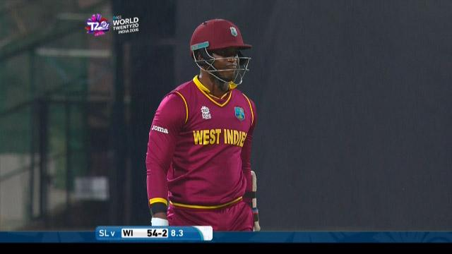 Marlon Samuels Wicket Fall SL V WI Video ICC WT20 2016