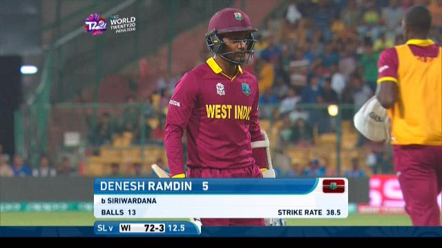 Denesh Ramdin Wicket Fall SL V WI Video ICC WT20 2016