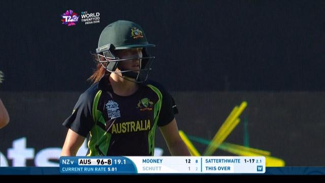 Megan Schutt Wicket Fall AUS V NZ Video ICC Womens WT20 2016