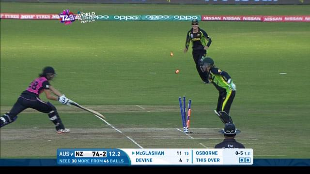 New Zealand wicket Losses v Australia Video ICC Womens WT20 2016