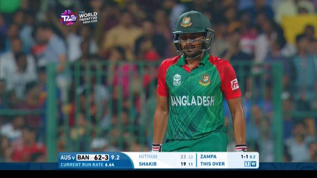 Mohammad Mithun Wicket Fall AUS V BAN Video ICC WT20 2016