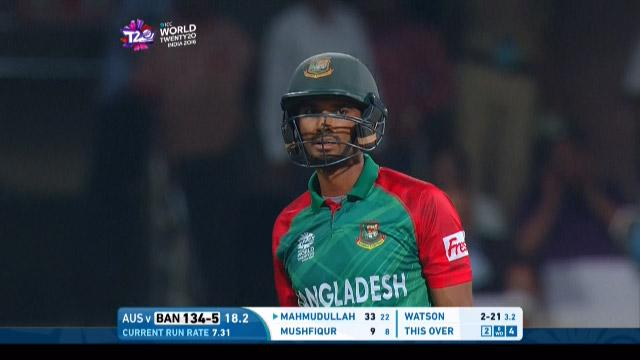 Mahmudullah Innings for Bangladesh V Australia Video ICC WT20 2016
