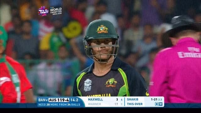 David Warner Wicket Fall AUS V BAN Video ICC WT20 2016