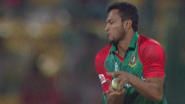 Shakib's brilliant caught and bowled grab!