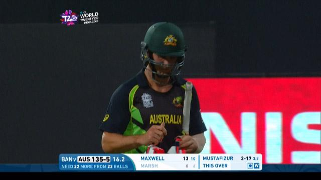 Mitchell Marsh Wicket Fall AUS V BAN Video ICC WT20 2016