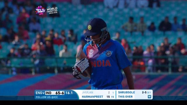 Jhulan Goswami Wicket Fall ENG V IND Video ICC Womens WT20 2016